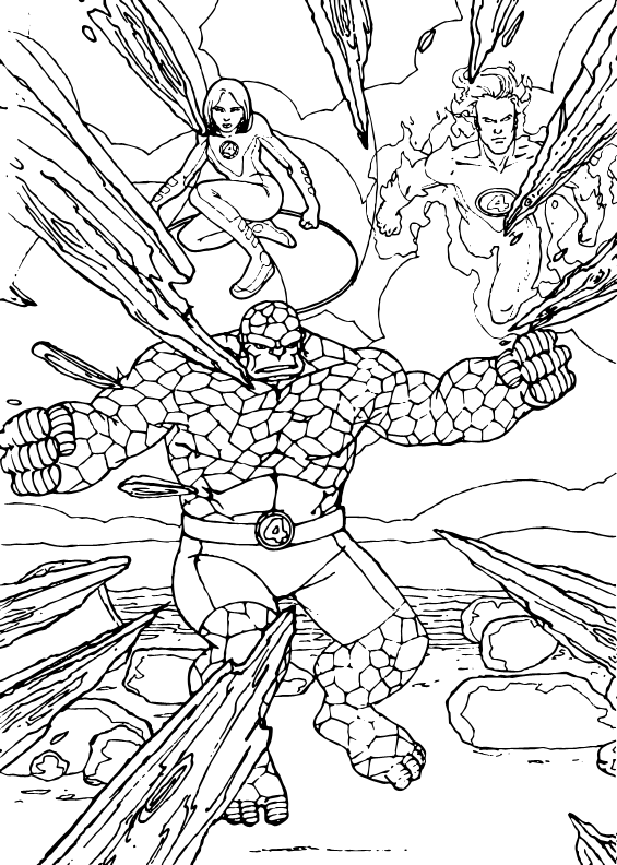 Sharp danger coloring pages for Fantastic four coloring pages