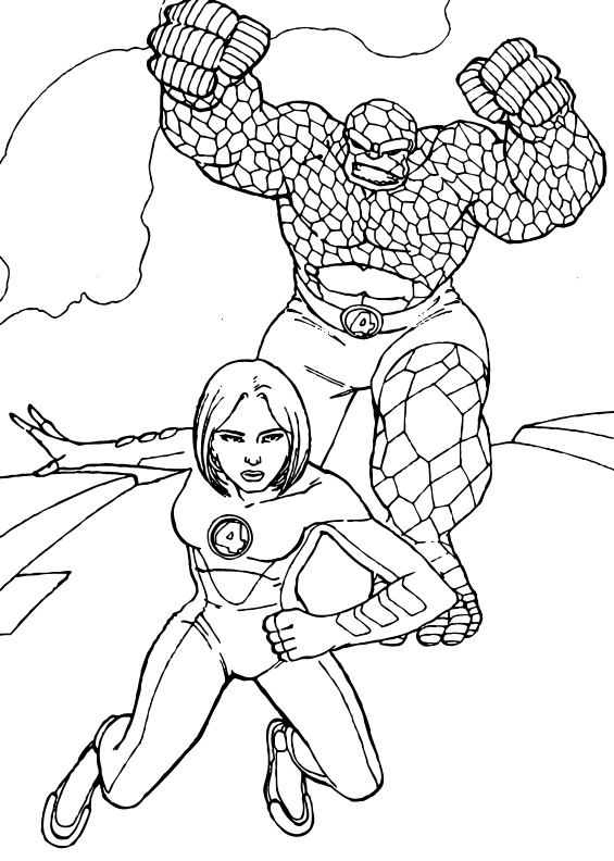 Invisible woman and The Thing coloring page