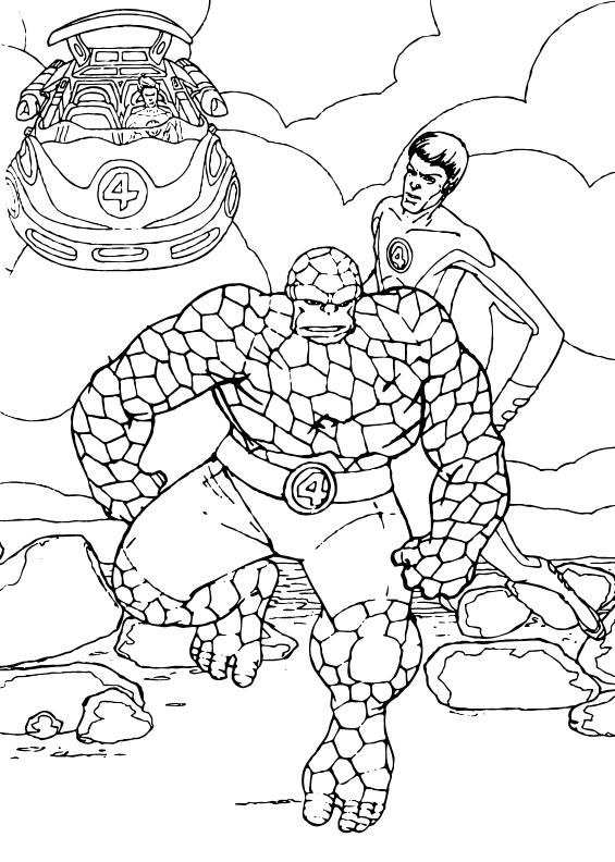 The Thing and Mr Fantastic coloring page