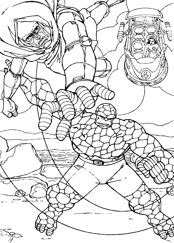 The Thing Brawls Doctor Doom coloring page