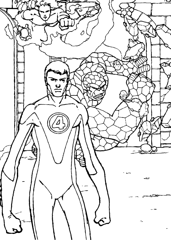 Mr Fantastic and friends coloring page