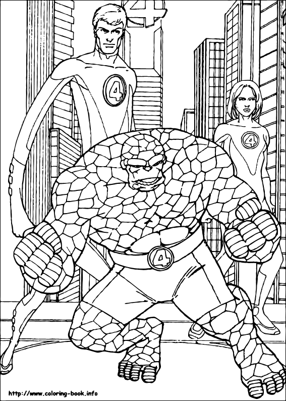 the thing coloring pages  fantastic four
