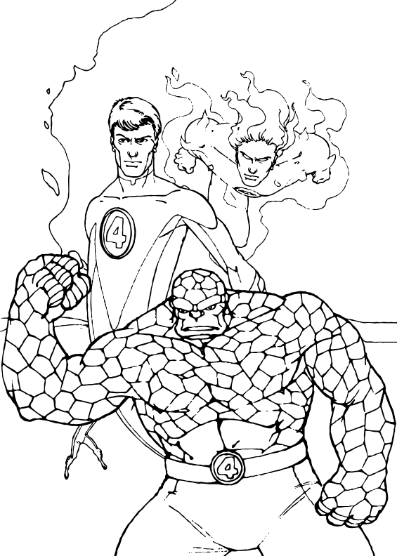 Three heroes coloring page
