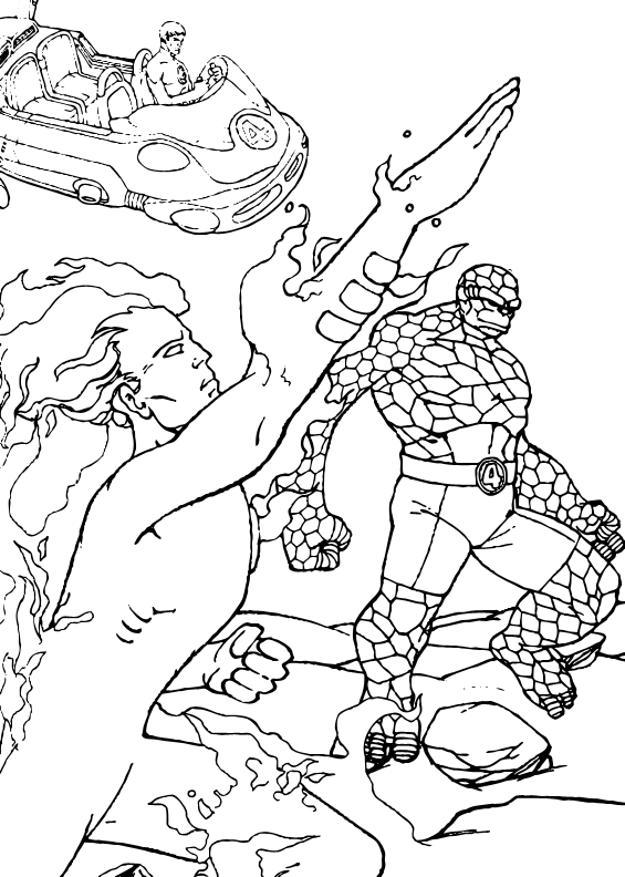Human torch in action coloring pages for Fantastic four coloring pages