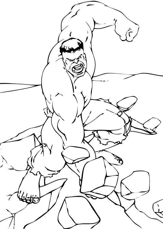 Hulk breaking the rock coloring pages - Hellokids.com