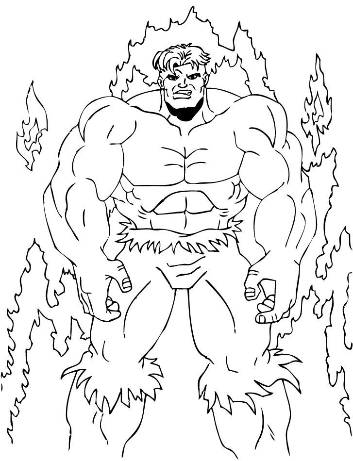 Hulk in the Blaze coloring page