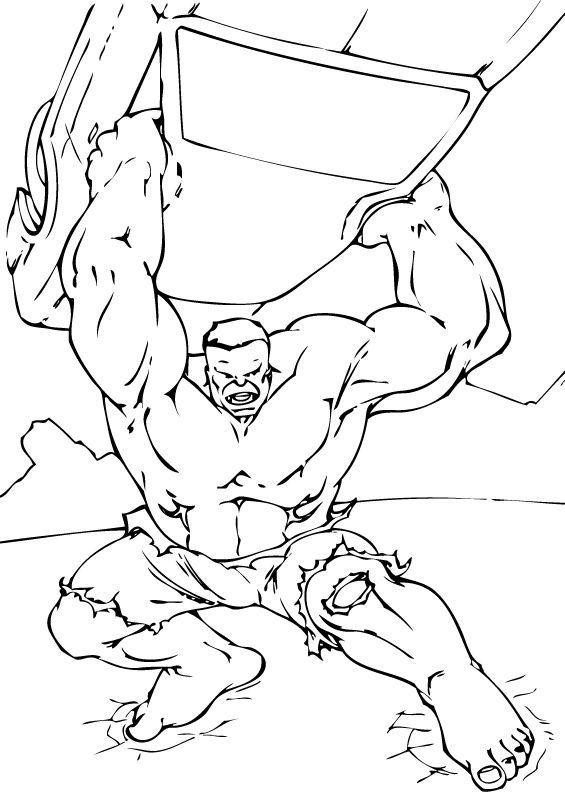 Hulk lifts car coloring pages - Hellokids.com