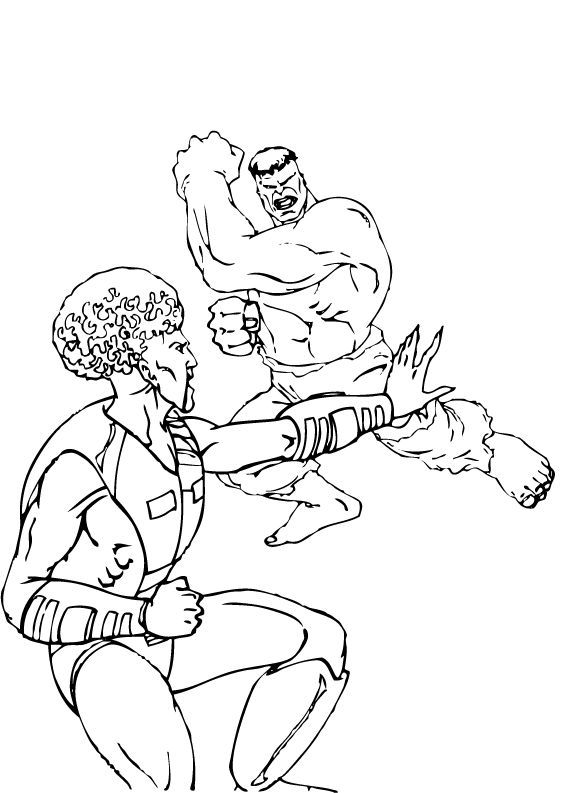 The Leader vs Hulk coloring page