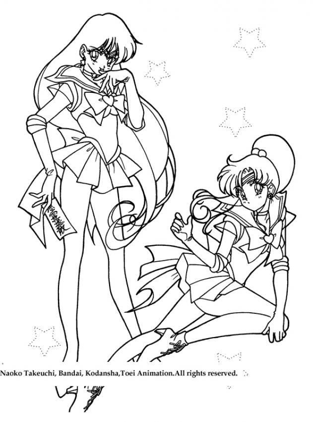 Two warrior girls coloring pages - Coloriage sailor moon ...