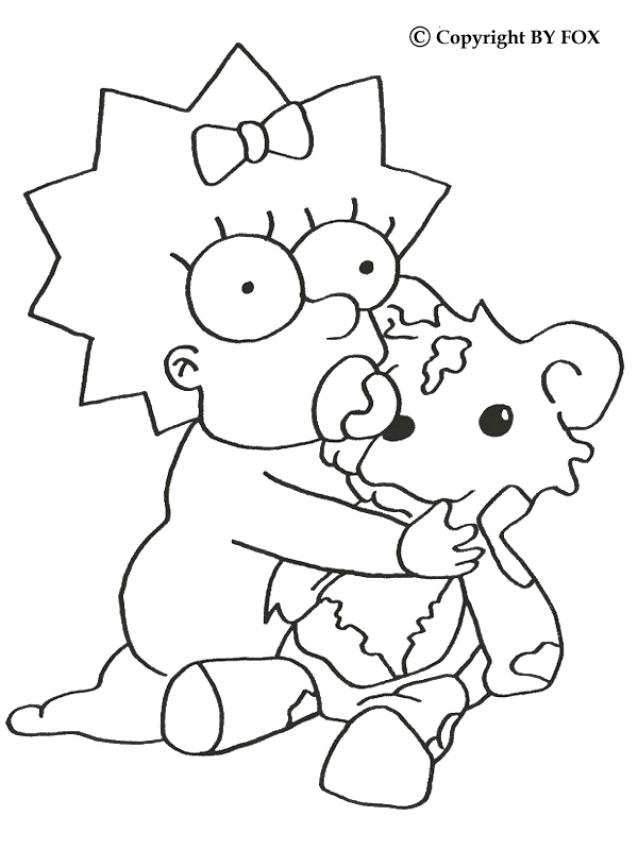 Maggie and her teddy bear coloring pages - Hellokids.com