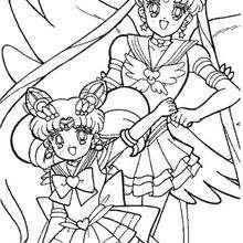 Sailor Moon and Sailor Chibi Moon - Coloring page - MANGA coloring pages - SAILOR MOON coloring pages