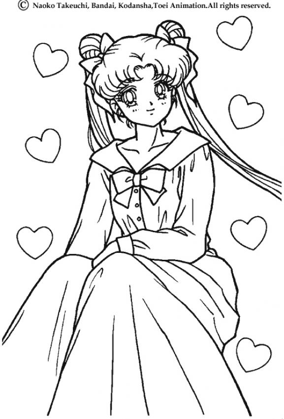 Sailor moon with a long dress coloring pages - Coloriage sailor moon ...