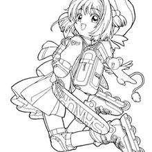 Sakura rollerblading coloring page