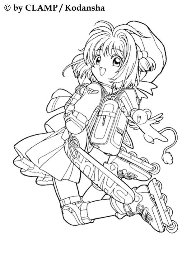 Sakura rollerblading coloring pages for Cardcaptor sakura coloring pages