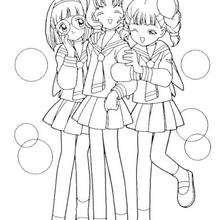 Sakura's friends: Chiharu Mihara, Naoko Yanagisawa and Rica Sasaki - Coloring page - MANGA coloring pages - SAKURA coloring pages
