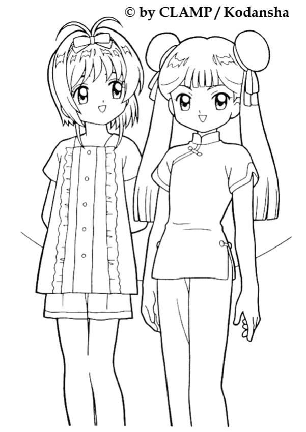sakura and mailing li - Cardcaptor Sakura Coloring Pages