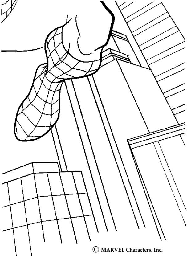 Spiderman jumping across buildings coloring page