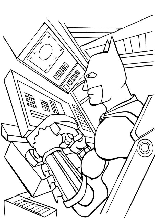 Superhero Batman Batmobile Coloring Sheets Printable Kids: Batman Driving The Batmobil Coloring Pages