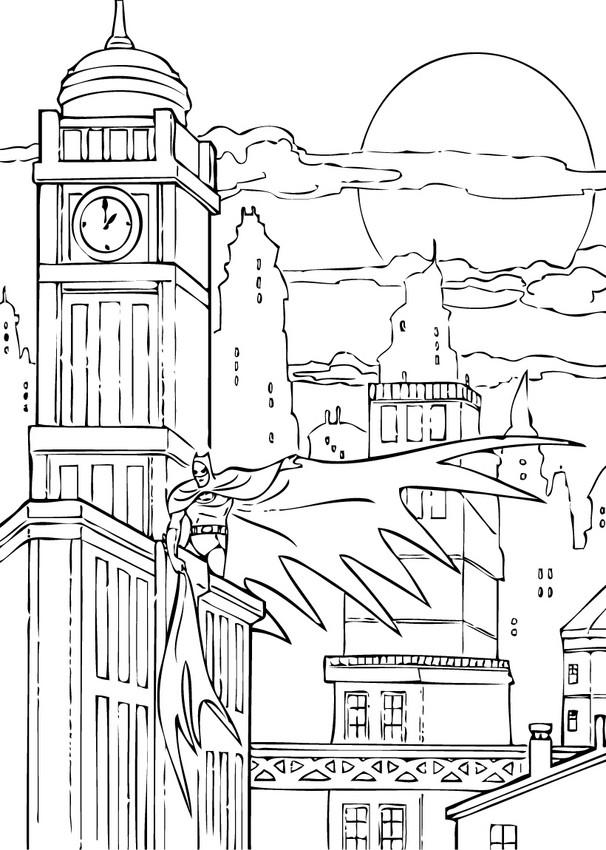 Batman In Gotham City Coloring Pages Hellokids Com