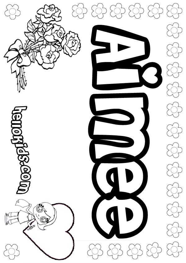 girls name coloring pages Aimee girly name to color
