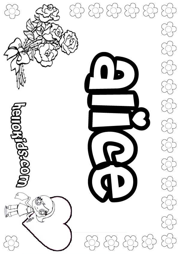 Alice Coloring Pages Hellokids Com Name Colouring Pages