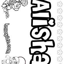 Alisha - Coloring page - NAME coloring pages - GIRLS NAME coloring pages - A names for girls coloring sheets