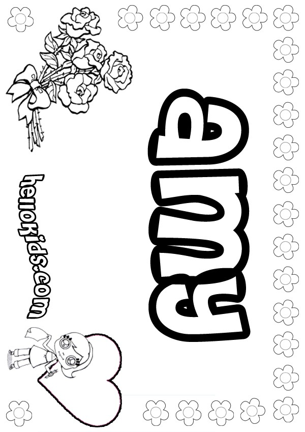 girls name coloring pages Amy