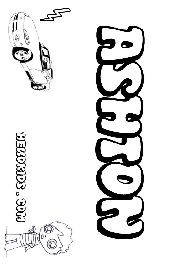 Kids name coloring pages ashton boy name to color for Kids name coloring pages