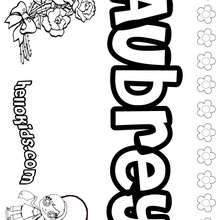 Aubrey - Coloring page - NAME coloring pages - GIRLS NAME coloring pages - A names for girls coloring sheets