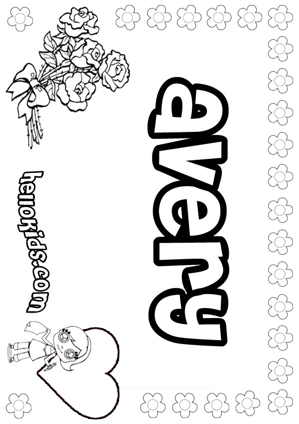 Avery Name Coloring Pages Avery Coloring Page