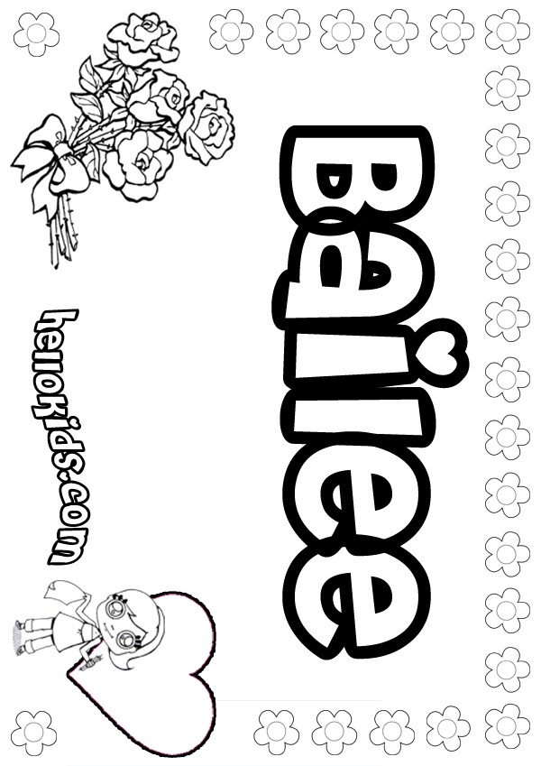 Girls Name Coloring Pages Bailee Girly Name To Color