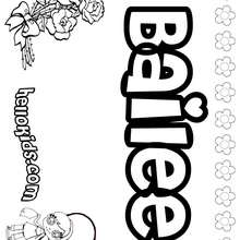 Bailee - Coloring page - NAME coloring pages - GIRLS NAME coloring pages - B names for girls coloring sheets