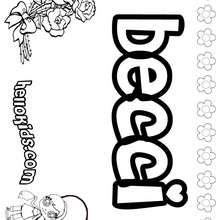 Becci - Coloring page - NAME coloring pages - GIRLS NAME coloring pages - B names for girls coloring sheets