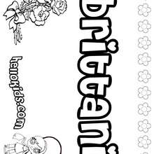 Brittani - Coloring page - NAME coloring pages - GIRLS NAME coloring pages - B names for girls coloring sheets