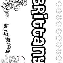 Brittany - Coloring page - NAME coloring pages - GIRLS NAME coloring pages - B names for girls coloring sheets