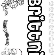 Brittni - Coloring page - NAME coloring pages - GIRLS NAME coloring pages - B names for girls coloring sheets