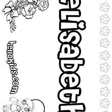 Elisabeth - Coloring page - NAME coloring pages - GIRLS NAME coloring pages - E names for girls coloring book