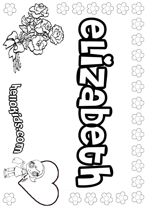 Girls Name Coloring Pages Elizabeth Girly Name To Color And Elizabeth Coloring Pages