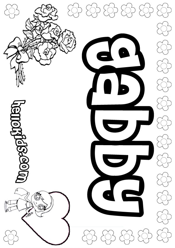 girl names coloring pages - photo#7