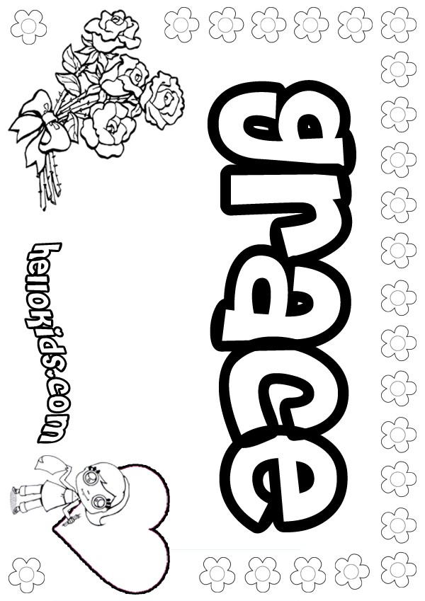 grace coloring page girls name coloring pages grace girly name to color