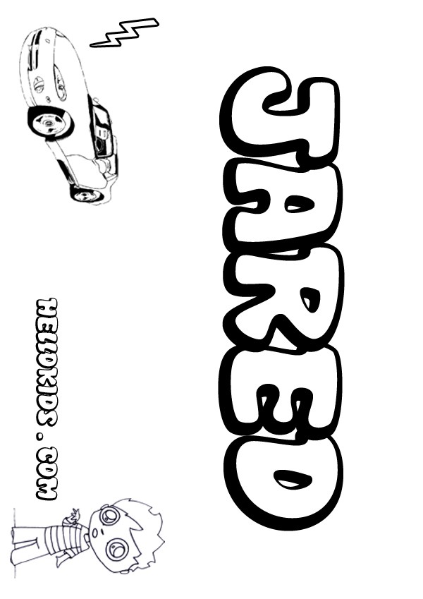 kids name coloring pages, Jared boy name to color