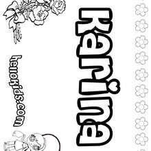 Karina - Coloring page - NAME coloring pages - GIRLS NAME coloring pages - K names for girls coloring posters