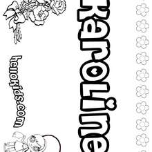 Karoline - Coloring page - NAME coloring pages - GIRLS NAME coloring pages - K names for girls coloring posters