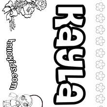 Kayla - Coloring page - NAME coloring pages - GIRLS NAME coloring pages - K names for girls coloring posters