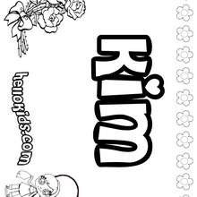 Kim - Coloring page - NAME coloring pages - GIRLS NAME coloring pages - K names for girls coloring posters