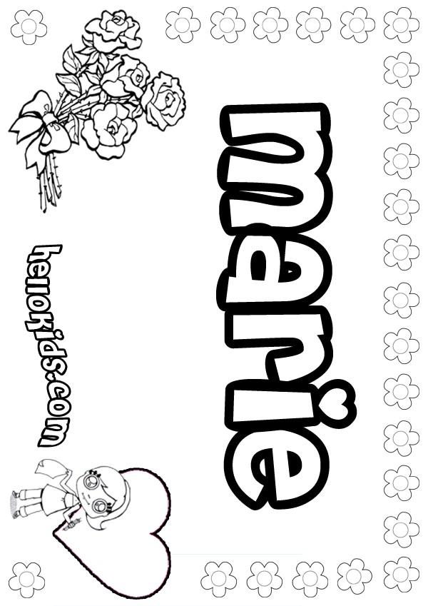 Marie Coloring Pages Hellokids Com Name Colouring Pages