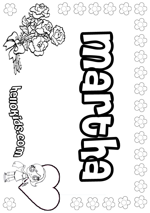 Girls Name Coloring Pages Martha Girly Name To Color