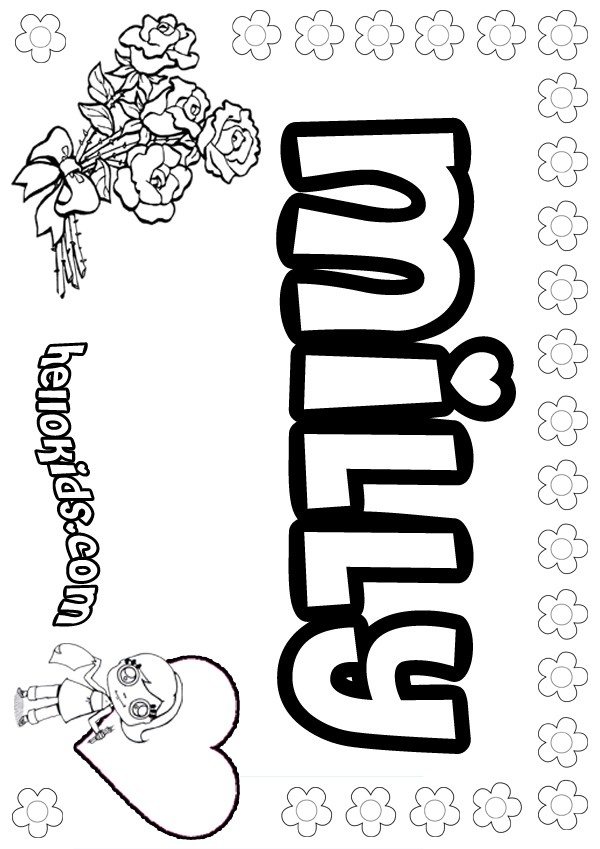 Girls name coloring pages milly girly name to color for Kids name coloring pages
