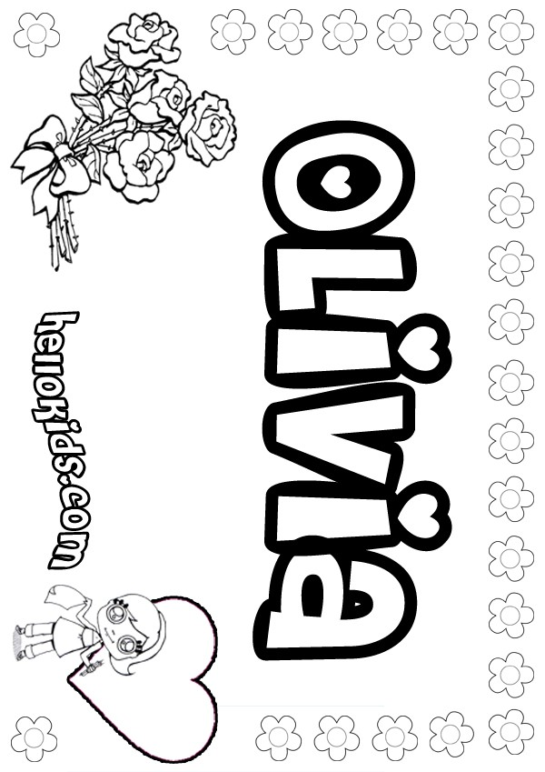 Girls Name Coloring Pages Olivia Girly Name To Color
