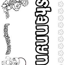 Shannyn - Coloring page - NAME coloring pages - GIRLS NAME coloring pages - S girls names coloring posters